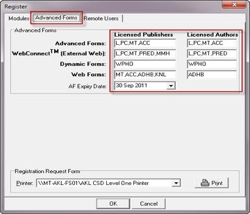 Register AdvForms NewLicense Screen